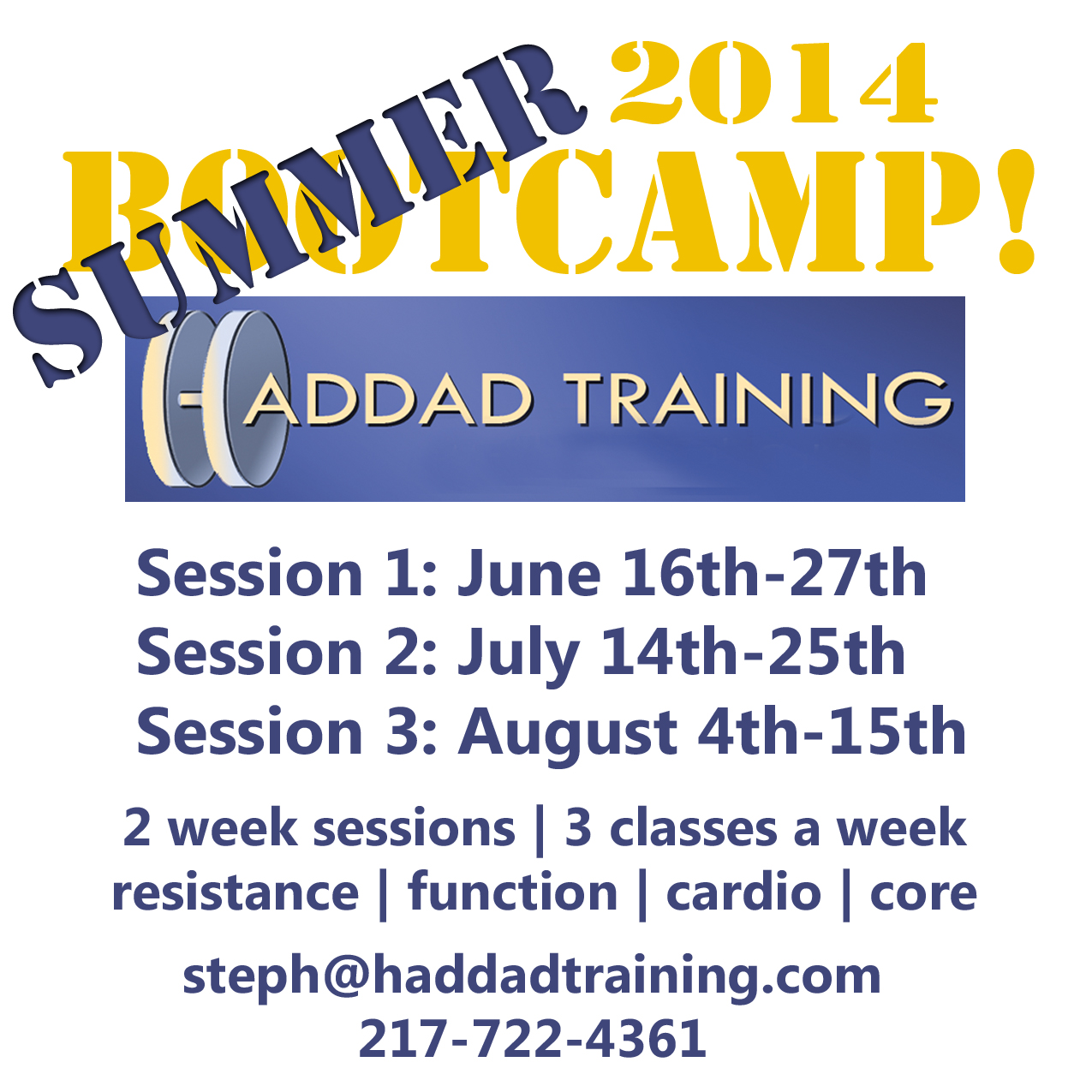 Two week Bootcamps with Steph Haddad CPT
