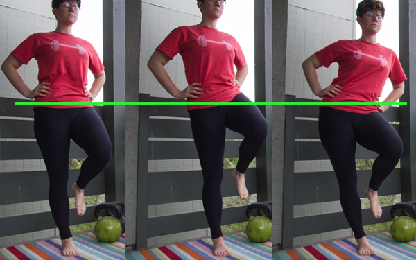 single leg stand: level hips and two (bad position) compensation variations